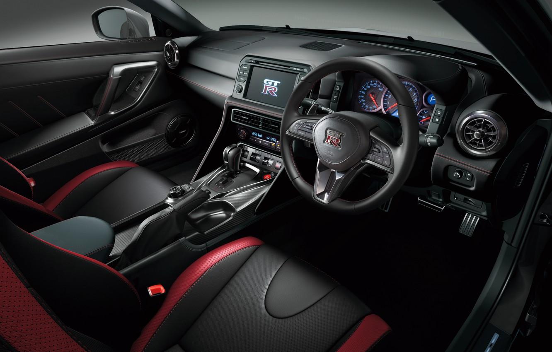 Фото обои панель, интерьер, руль, Nissan, GT-R, салон, ниссан, R35, торпедо