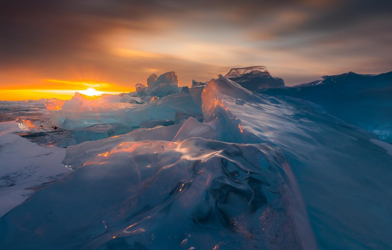 Фото обои лед, зима, закат, природа