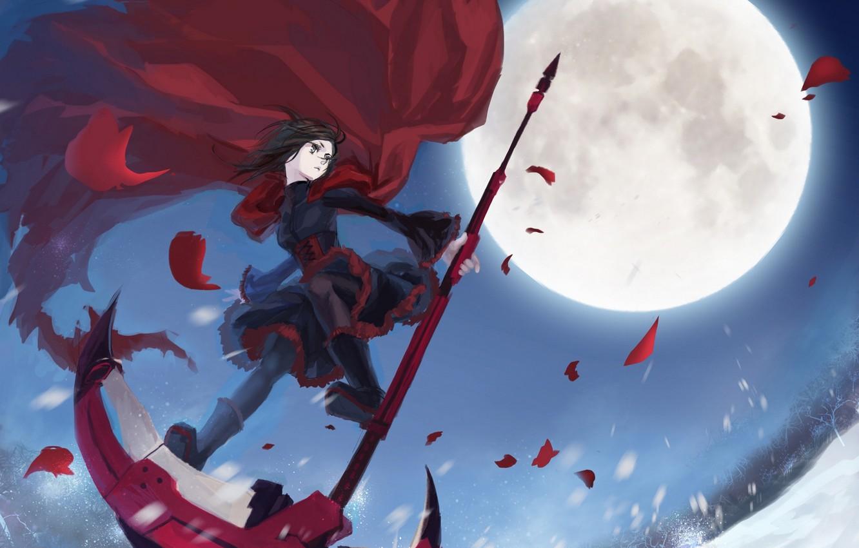 Фото обои девушка, снег, деревья, оружие, луна, аниме, лепестки, арт, коса, плащ, mizukai, ruby, rwby