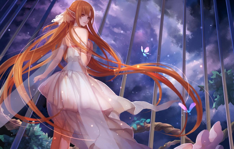 Фото обои девушка, облака, ночь, решетка, платье, арт, уши, sword art online, yuuki asuna, asukaziye