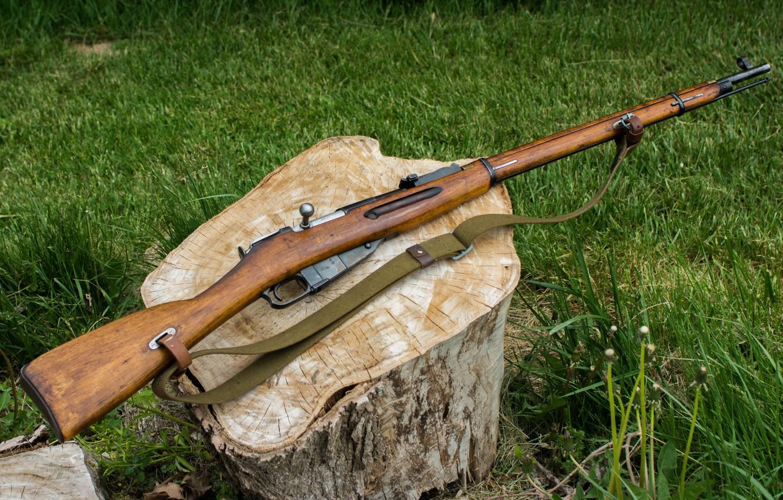 Фото обои оружие, пень, винтовка, Мосина