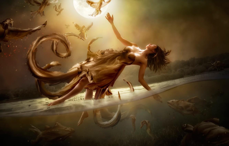 Фото обои вода, девушка, фантазия, луна, арт, полёт, Diversity