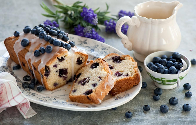 Фото обои цветы, ягоды, черника, посуда, десерт, выпечка, глазурь, кекс