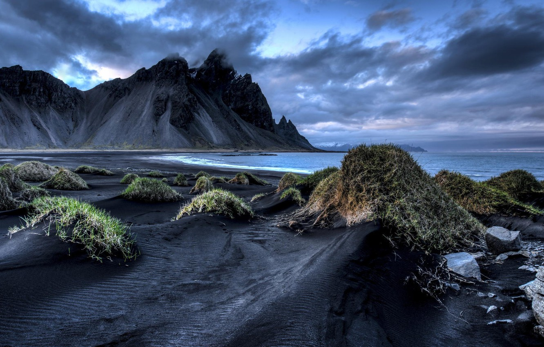 Обои берег, море, Vestrahorn Islande. Природа foto 11