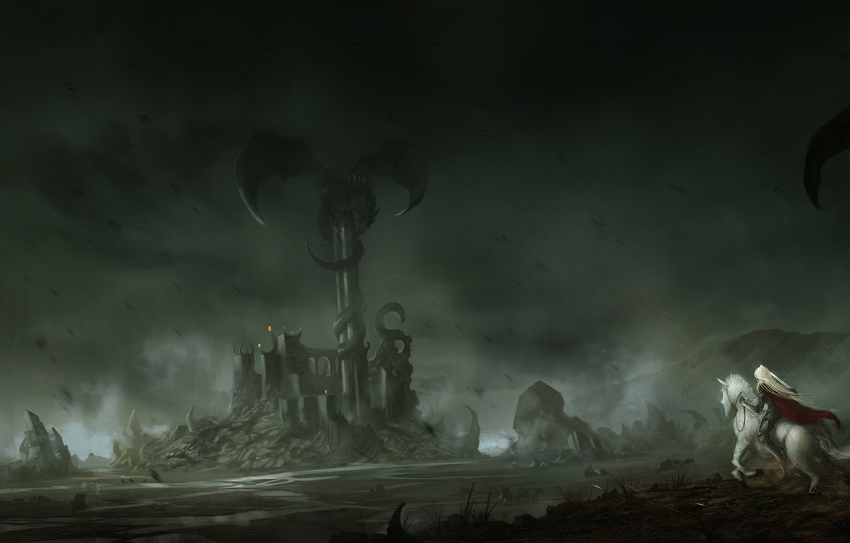 Фото обои девушка, замок, скалы, конь, дракон, башня, меч, всадница, арт, единорог, крепость, blinck