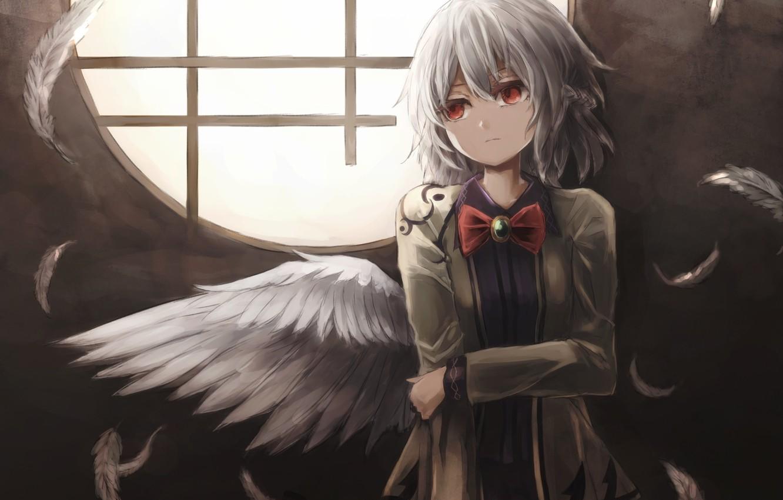 Фото обои девушка, крылья, аниме, перья, арт, touhou, kishin sagume, thkani