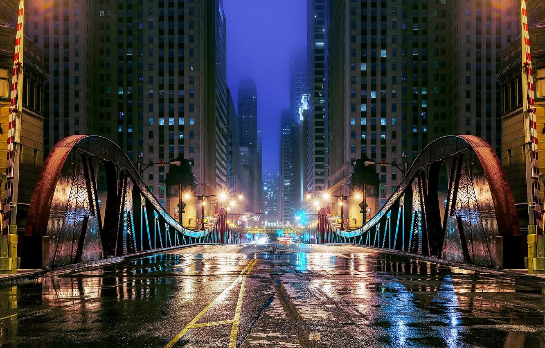 Обои чикаго, мосты, здания, chicago, сша, ночь, америка. Города foto 8
