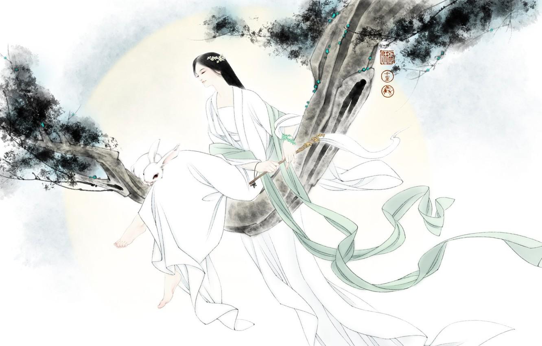 Фото обои девушка, настроение, ветер, ветка, кролик, арт, зайчик