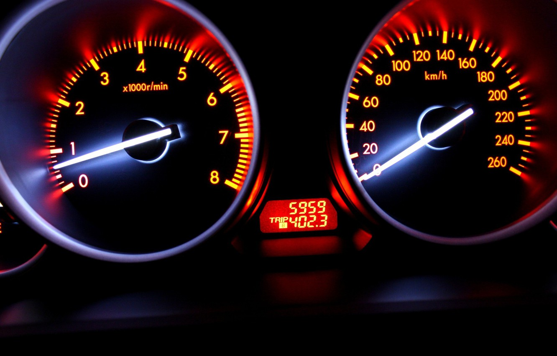 Фото обои скорость, размытие, Спидометр, автомобиль, сочные цвета
