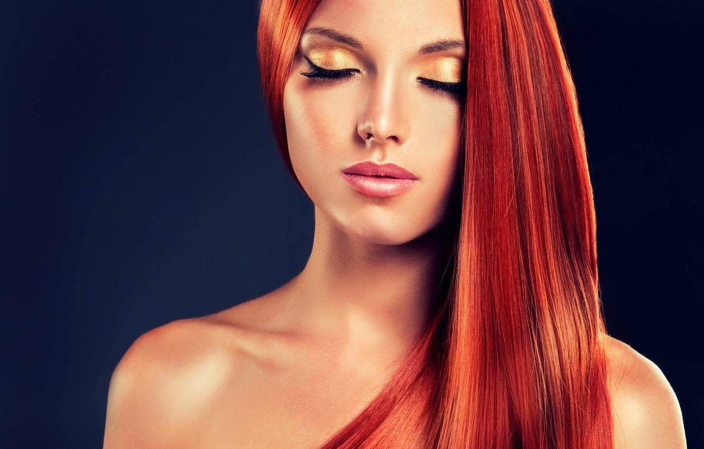 Фото обои девушка, макияж, рыжие волосы, закрытые глаза, красивая. модель