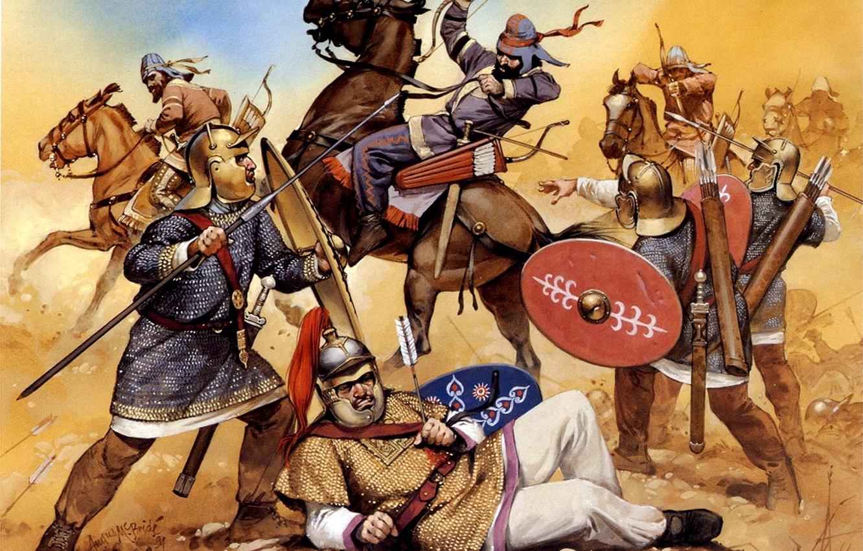 Фото обои арт, битва, щиты, дротики, шлемы, лучники, луки, кальчуги, римские легионеры, I век до н.э., конные, …