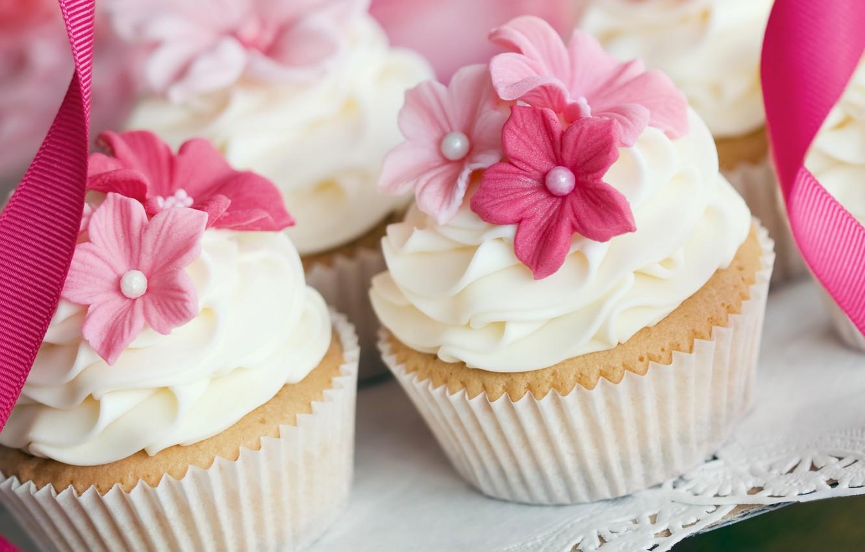 Фото обои украшения, цветы, крем, десерт, выпечка, сладкое, кексы