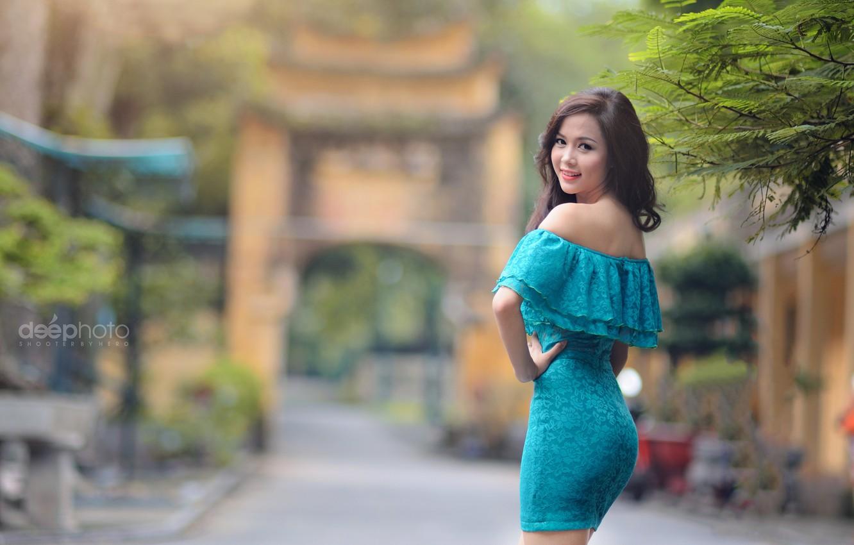 Фото обои девушка, парк, платье, азиатка, боке