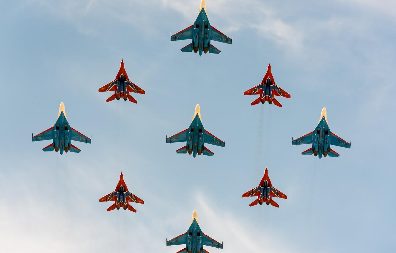 Обои стрижи, истребители, Русские витязи. Авиация foto 9