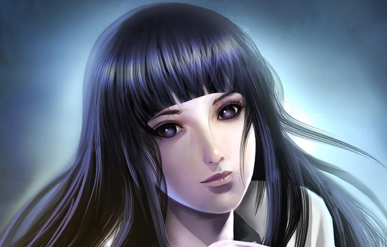 Фото обои взгляд, девушка, темный фон, наруто, Naruto, Хината, Hyuuga, Hinata