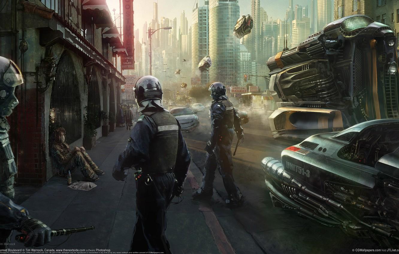 Фото обои город, будущее, улица, полиция