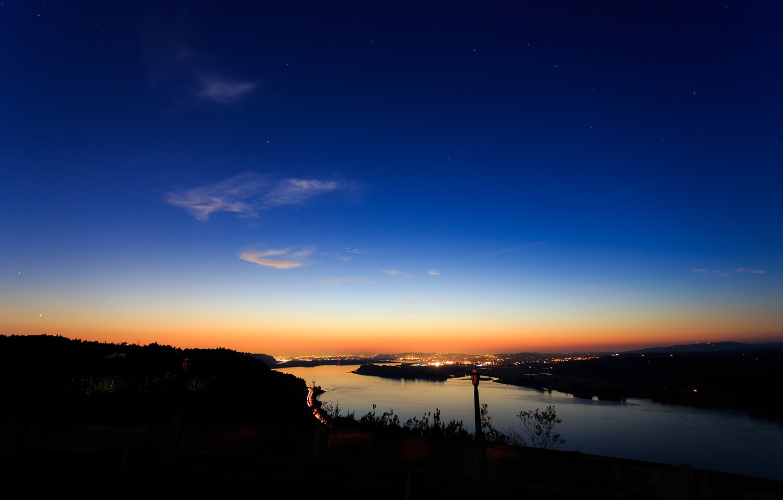 Фото обои река, рассвет, силуэт, берега, Portland, Columbia River Gorge