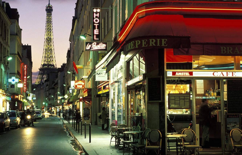 Фото обои Париж, вечер, франция, france, улочка, paris wallpapers