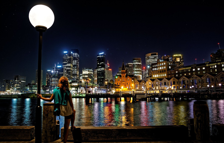 Обои набережная, ночь, австралия, фонари. Города foto 10