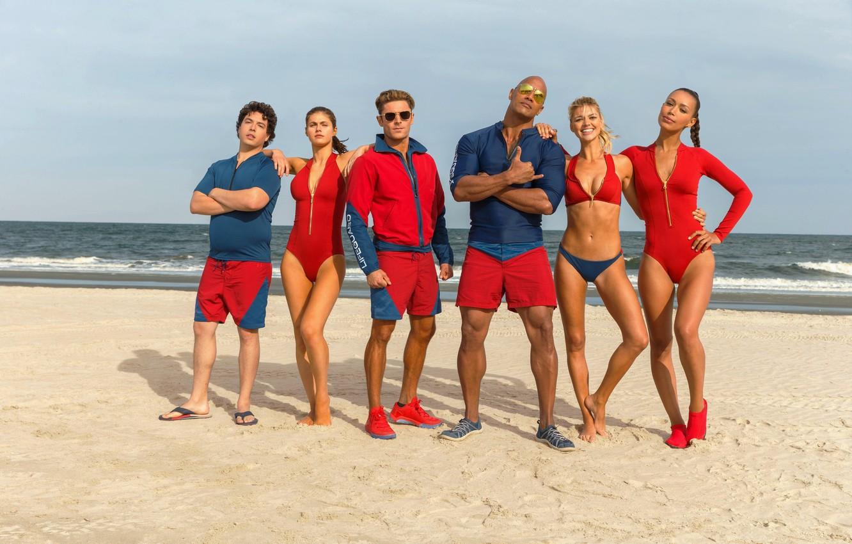 Фото обои cinema, girl, beach, sky, sea, woman, water, cloud, man, sand, movie, tatoo, brunette, Dwayne Johnson, …