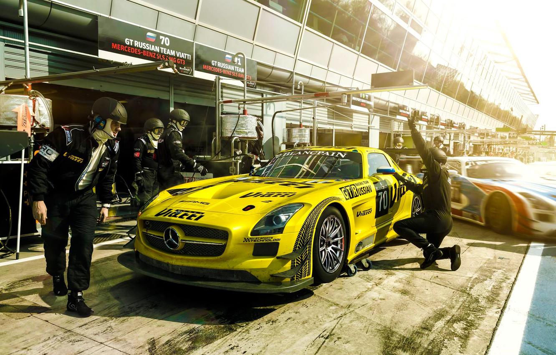 Фото обои Mercedes-Benz, Race, AMG, SLS, GT3, Yellow, Team, Russian, Stop, Pit, Viatti
