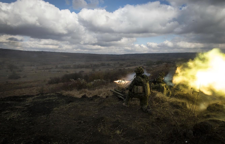 Фото обои оружие, армия, выстрел, солдаты, пуск