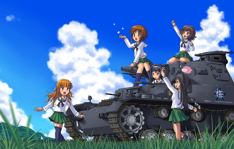 Фото обои лето, солнце, девочки, аниме, арт, танк