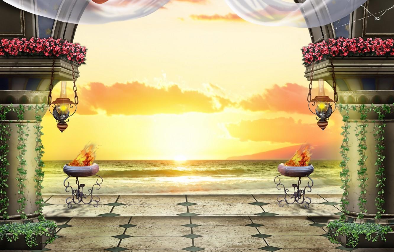 Фото обои море, закат, вечер, колонны, терраса, светильники