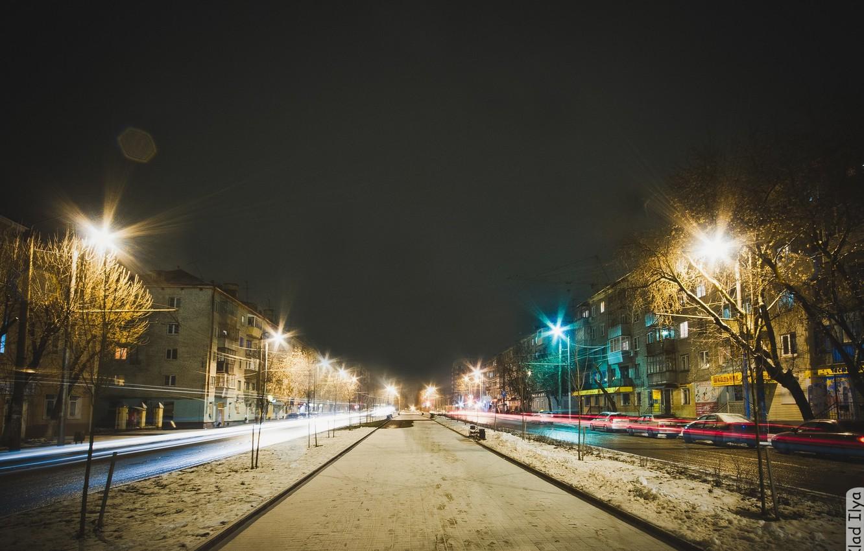Обои cars, улица, дома, ночь, машины, свет. Города foto 12