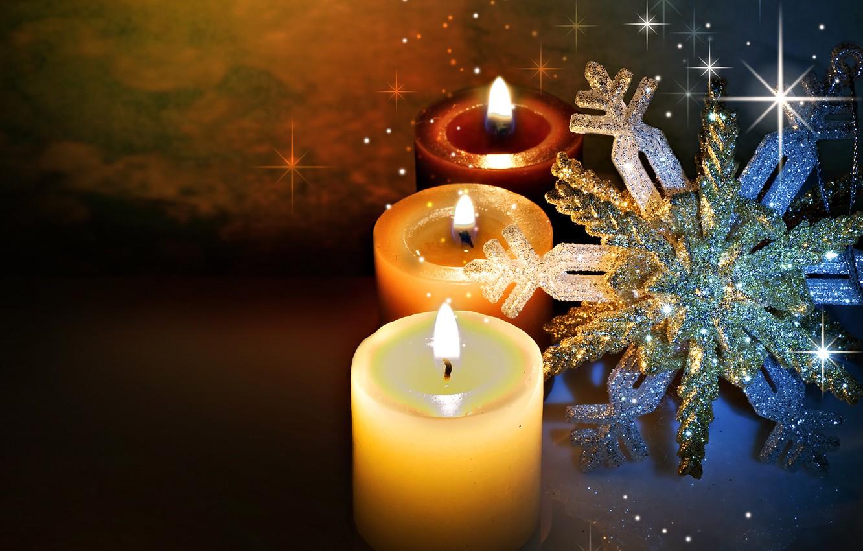 Фото обои зима, свет, снежинки, блики, огонь, праздник, вечер, свечи