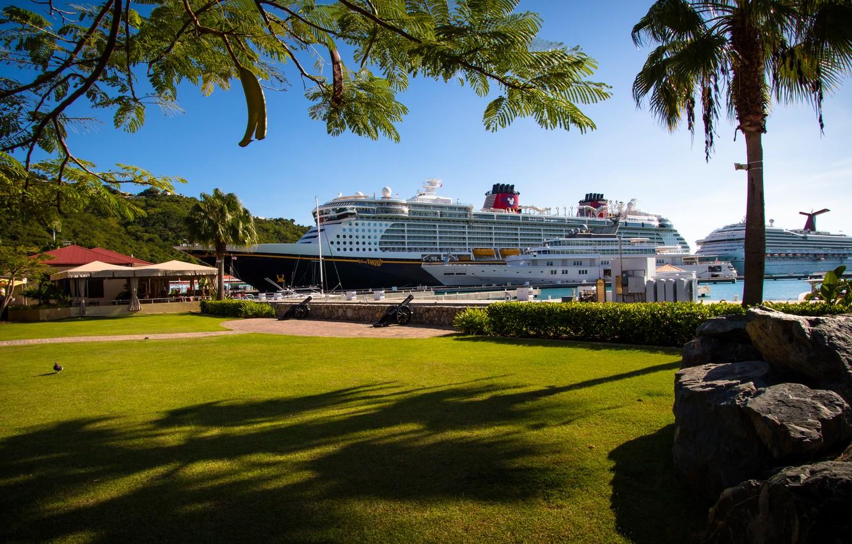 Фото обои island, yacht, Caribbean, mega yacht, yacht haven grande, Disney fantsy, St.Thomas, cruise liner, Carinval Fredom., …