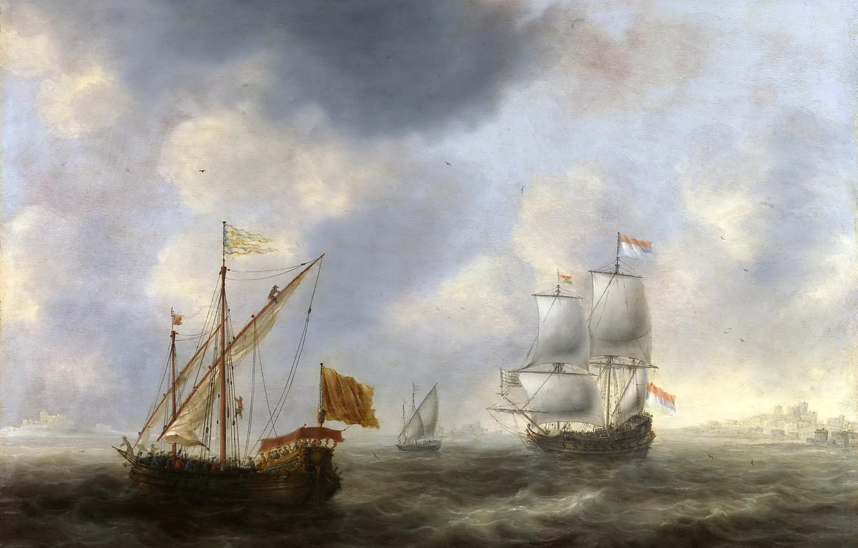 Фото обои море, волны, корабль, картина, флаг, парус, морской пейзаж, Jacob Adriaensz Bellevois, Турецкая Галера и Голландское …
