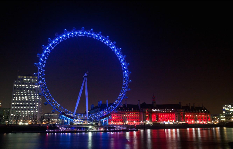 Фото обои огни, отражение, река, Англия, Лондон, здания, дома, подсветка, Великобритания, колесо обозрения, набережная, иллюминация, вечерний город