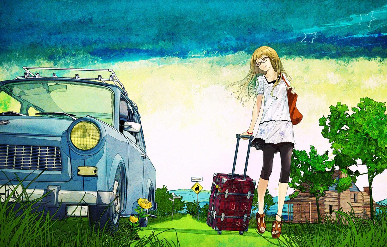 Фото обои дорога, лето, деревья, рисунок, арт, старый, чемодан, автомобиль, просёлочная, девушна, Blonde with suitcase