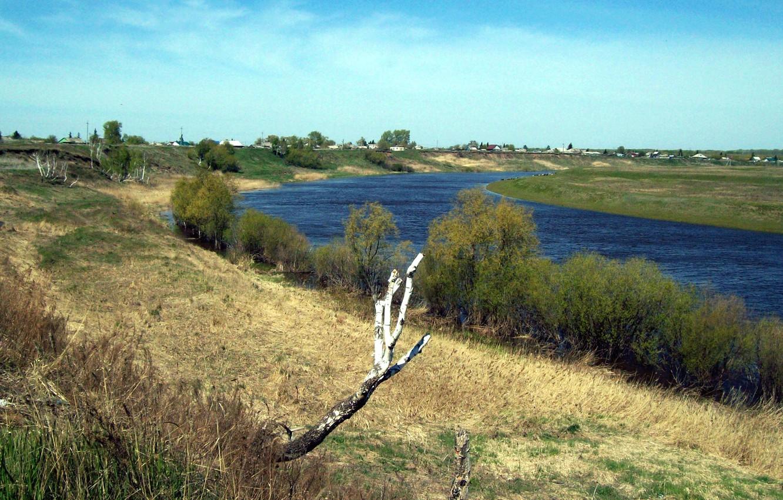 Фото обои лето, природа, река, Деревня