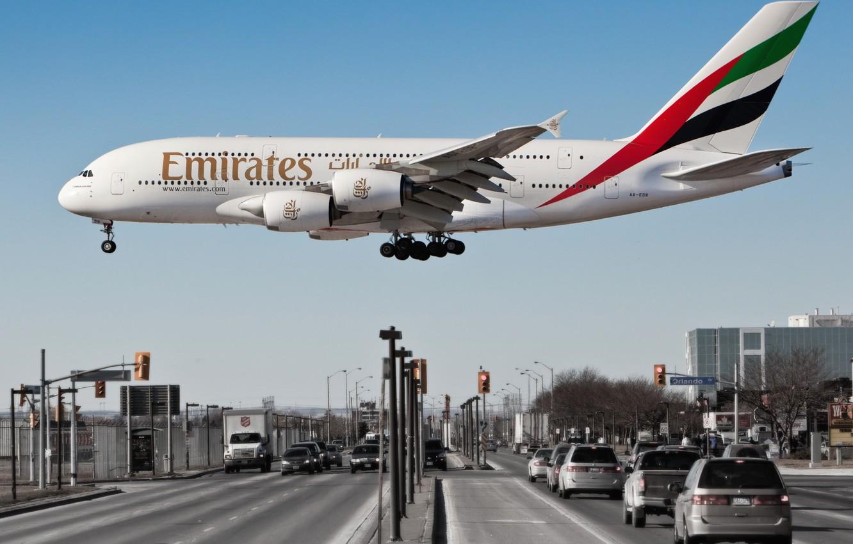 Обои пассажирский, airbus, авиалайнер, Emirates airline, Самолёт. Авиация foto 7