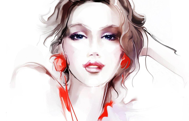 Фото обои глаза, взгляд, девушка, лицо, фон, волосы, рука, серьги, макияж, красные, Tatiana Nikitina