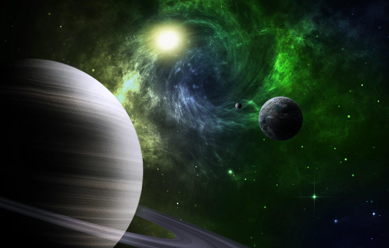 Фото обои космос, звезды, земля, луна, планеты, кольца, спутники, сатурн