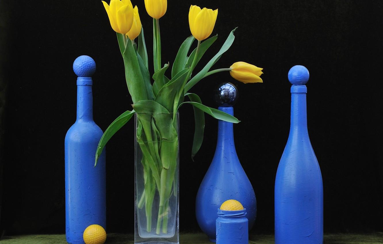 Обои стекло, натюрморт, бутылка, цветы, графин. Разное foto 17