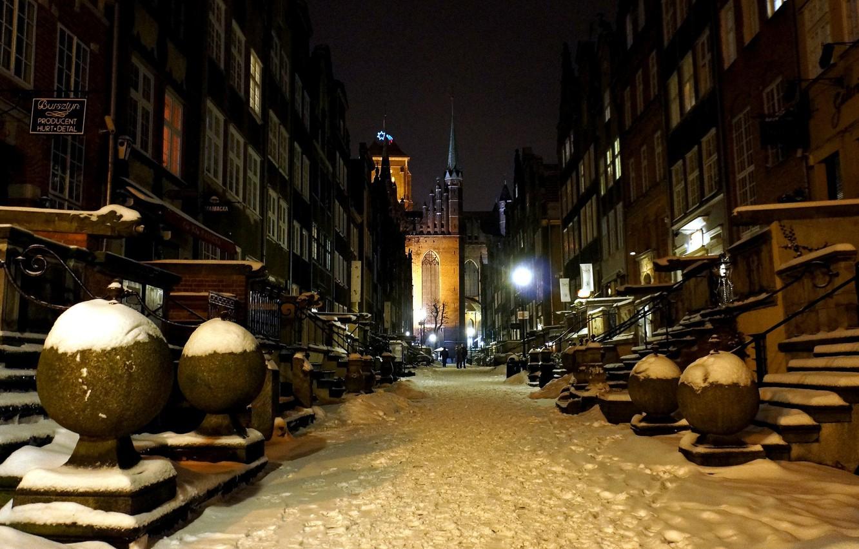 Фото обои зима, ночь, улица, дома, Польша, Гданьск
