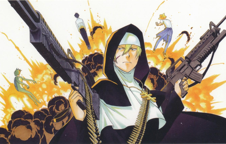 Фото обои взрыв, крест, автомат, пулемет, патроны, монашка, art, sister, каппа.звезда, arakawa under bridge, ichinomiya kou, под …