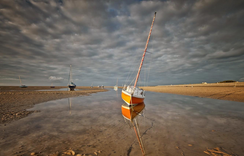 Фото обои море, лодки, мель