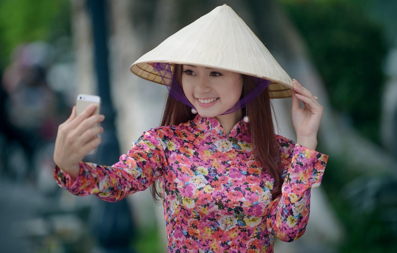 Фото обои улыбка, настроение, азиатка, селфи