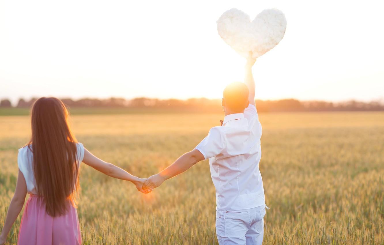 Фото обои поле, девушка, любовь, природа, фон, обои, настроения, женщина, сердце, пара, wallpaper, мужчина, колосья, girl, love, …