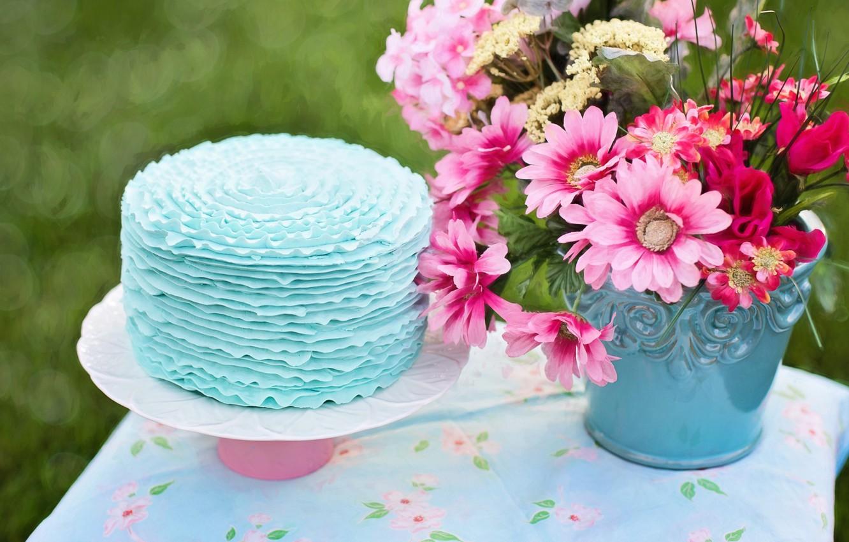 Фото обои цветы, стол, ведро, торт