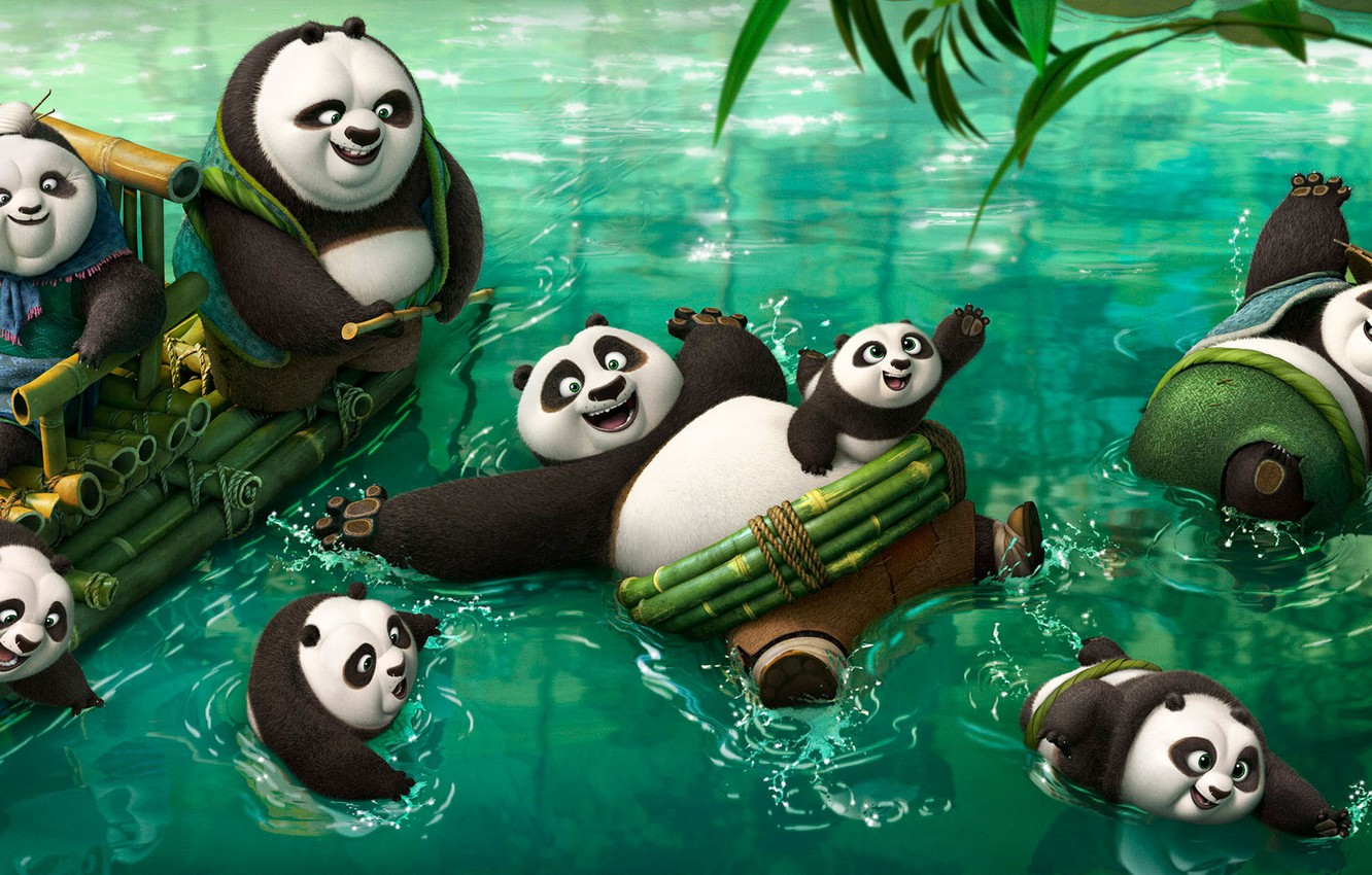 Фото обои Action, Nature, Water, DreamWorks, Men, Girls, Wallpaper, Family, Old, Women, Kung Fu Panda 2, River, …