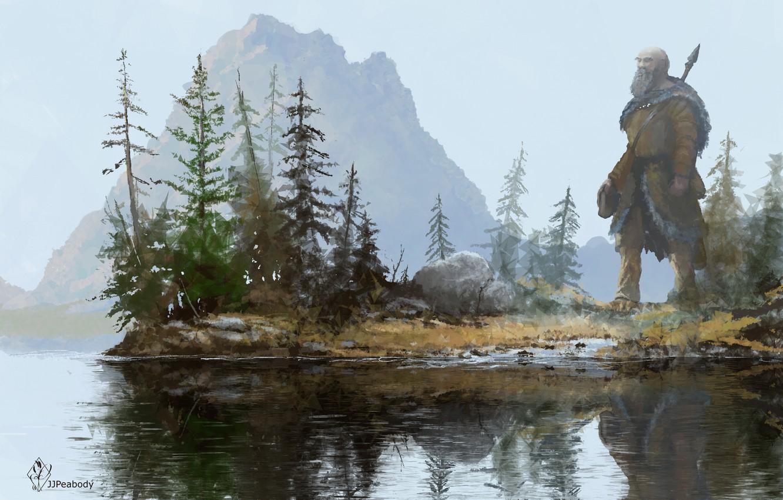 Фото обои вода, деревья, пейзаж, отражение, арт, гигант, копье