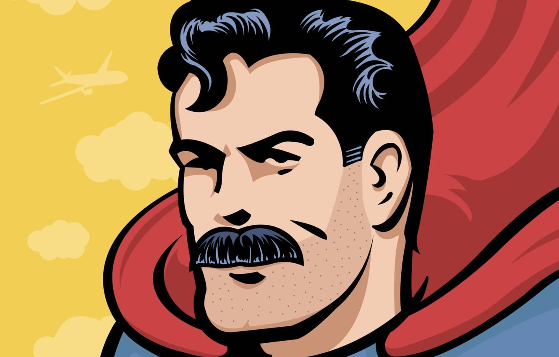Фото обои усы, герой, Супермен, щетина, комикс, comics, Superman, hero, Кларк Кент, усатый, Clark Kent, mustache, man …