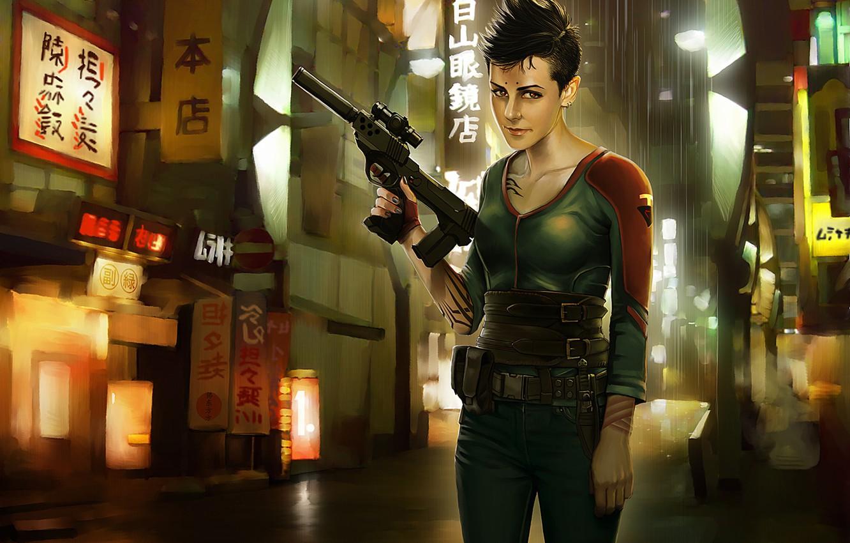Фото обои девушка, город, пистолет, фантастика, улица, арт, убийца
