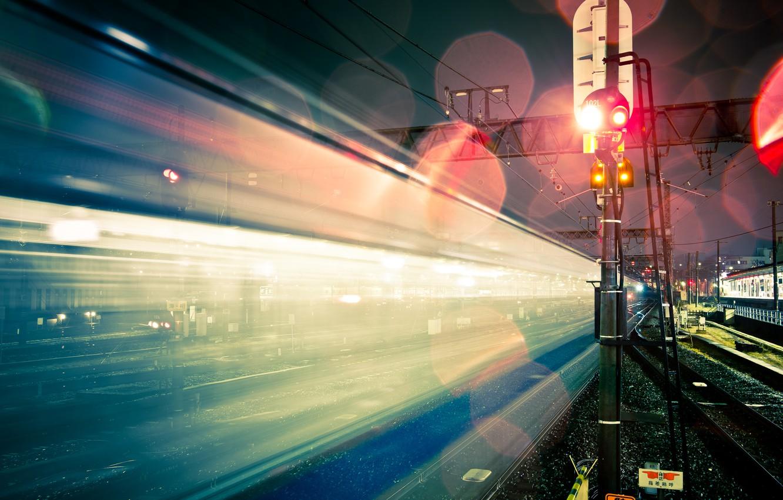 Фото обои свет, ночь, город, блики, япония, выдержка, железная дорога